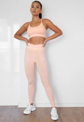 Missguided Orange Seamless Msgd Highwaisted Gym Leggings