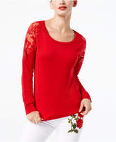 INC International Concepts I.n.c. Lace-Trimmed Sweater, Created for Macy's