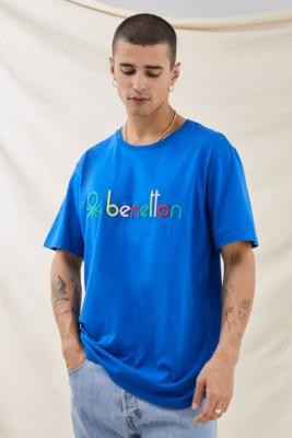 Benetton Blue Logo T-Shirt - Blue S at Urban Outfitters