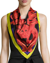 Versace Circular Slither Foulard Scarf, Red