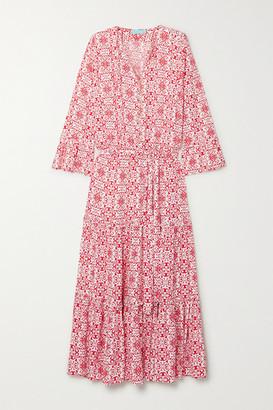 Melissa Odabash Skye Belted Printed Poplin Maxi Dress - Red
