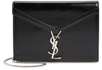 Saint Laurent Cassandra Reptile Embossed Calfskin Wallet on a Chain