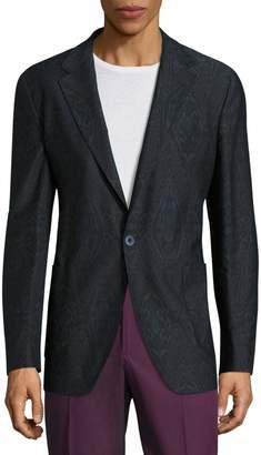 Etro Giacca Ikat Printed Wool Blend Jacket