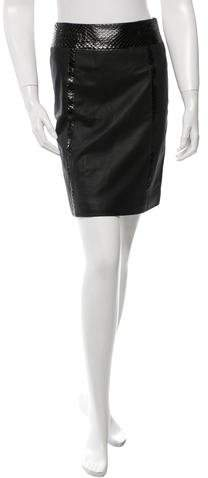Chanel Snakeskin-Trimmed Leather Skirt w/ Tags