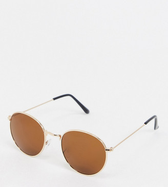 South Beach Exclusive hexagon hazel lens sunglasses with gold frames