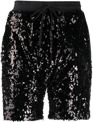 R 13 Sequin Detailed Track Shorts