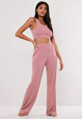 Missguided Pink Scoop Neck Cropped Pyjama Set
