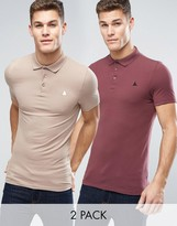 Asos 2 Pack Extreme Muscle Pique Polo Shirt In Red/Beige With Logo SAVE