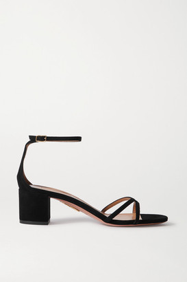Aquazzura Purist 50 Suede Sandals - Black