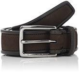 Ermenegildo Zegna Men's Nubuck Leather Belt-BROWN