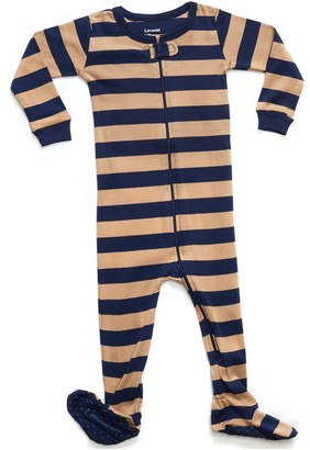 Navy and Beige Stripes Footed Sleeper Pajama (Baby, Toddler, & Little Kids)