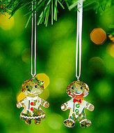 Swarovski Crystal Gingerbread Couple 2-Piece Ornament Set