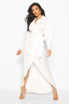 boohoo Hammered Satin Wrap Midaxi Shirt Dress