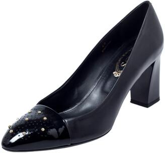 Tod's Black Studded Cap Toe Leather Block Heel Pumps Size 40