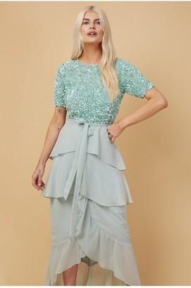 Little Mistress Bridesmaid Alysia Mint Embellished Frill Midaxi Dress