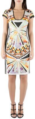 Just Cavalli Multicolor Aztec Print Stretch Knit Scoop Neck Bodycon Dress M