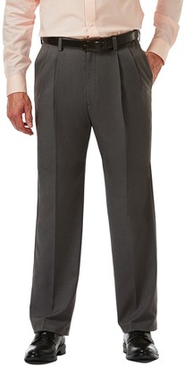 """Haggar Cool 18 PRO Heather Classic Fit Pleat Front Pants - 29-34"""" Inseam"""