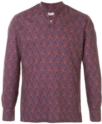 Kiton Mandarin Collar Paisley Print Shirt