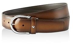 Montblanc Men's Round Horseshoe Shiny Palladium-Plated Leather Belt