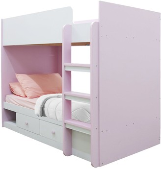 Peyton Storage Bunk Bed with Mattress Options (Buy and SAVE!) - White/Pink