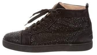 Christian Louboutin Louis Flat Veau Velours/Strass Sneakers