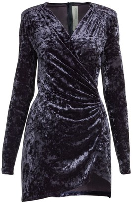 Off-White Crushed Velvet Stretch Wrap Dress