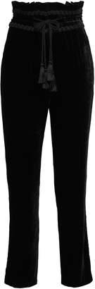 Alberta Ferretti Tasseled Velvet Straight-leg Pants