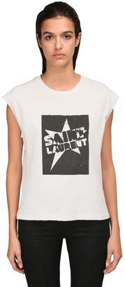 Saint Laurent Sleeveless Printed Cotton Jersey T-Shirt