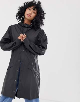 Rains long waterproof jacket-Black