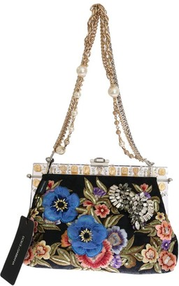 Dolce & Gabbana Multicolor Floral Canavs Embroidered Bag