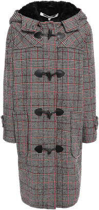 McQ Faux Fur-trimmed Checked Wool-blend Hooded Coat