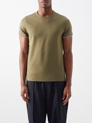 Moncler Logo-patch Tricolour-tipped Stretch-cotton T-shirt - Khaki