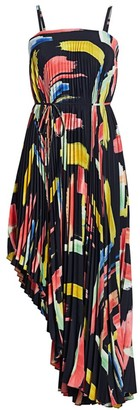 Milly Modern Brushstroke Print Asymmetrical Pleated Midi Dress