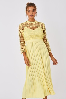 Little Mistress Tandi Lemon Zest Crochet Lace Pleated Midaxi Dress