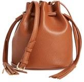 Street Level Mini Faux Leather Tassel Bucket Bag - Black
