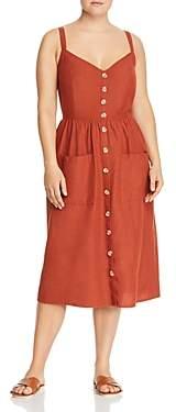 Junarose Plus Button-Front Midi Dress