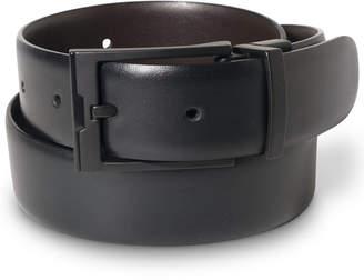 Perry Ellis Portfolio Men Big & Tall Matte Black Reversible Buckle Leather Belt