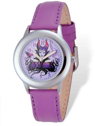 Disney Stainless Steel Maleficent Purple Leather Band Tween Watch