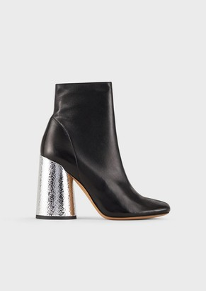 Emporio Armani Leather Booties With Crackled Insert