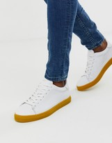 Selected leather sneakers with contrast yellow sole