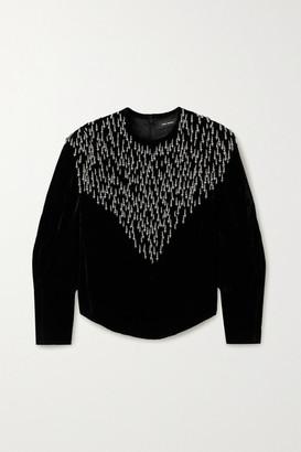 Isabel Marant Gabanoe Bead-embellished Velvet Top - Black