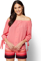 New York & Co. Off-The-Shoulder Tie-Detail Blouse