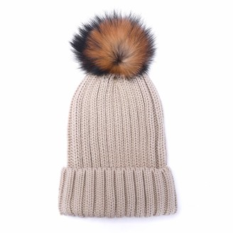 Mosa Womens Wool Knitted Hats Beanies Winter Crochet Hats with Large Raccoon Pompom Beige