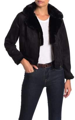 Catherine Malandrino Faux Fur Trim Faux Suede Moto Jacket (Petite)