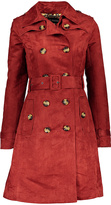 Steve Madden Chili Faux-Suede Double-Breasted Trench Coat