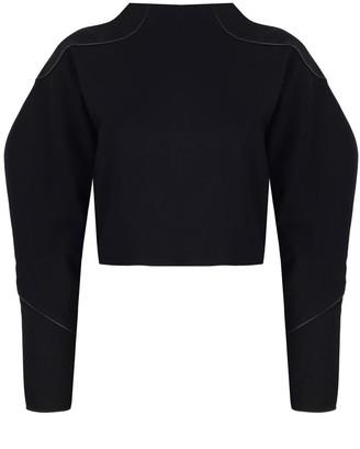 Mirimalist Angle Open Back Top In Black Sweatshirt