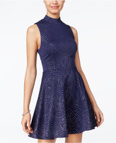 City Studios Juniors' Mock-Neck Glitter Skater Dress