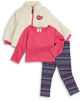 Little Lass Girls 2-6x Sherpa Jacket, Top and Leggings Set