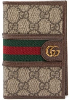 Gucci Ophidia Gg Plaque Leather Passport Holder - Beige
