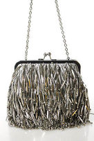 Sondra Roberts Gray Satin Fringe Bead Detail Evening Shoulder Handbag Size Small